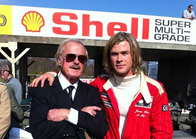 Alastair Caldwell on the set of Rush with Chris Hemsworth